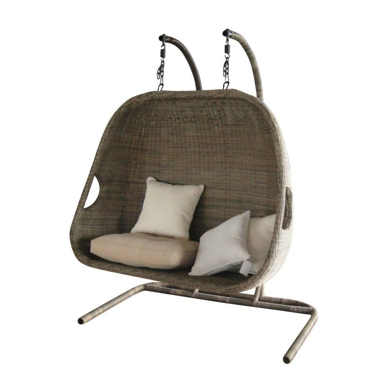 Double Hanging Swing Chair With Canopy Used Patio Furniture Rattan 2