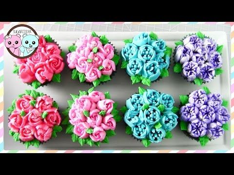 RUSSIAN PIPING TIPS: FLOWER CUPCAKES, FLOWER CAKE - SUGARCODER - YouTube