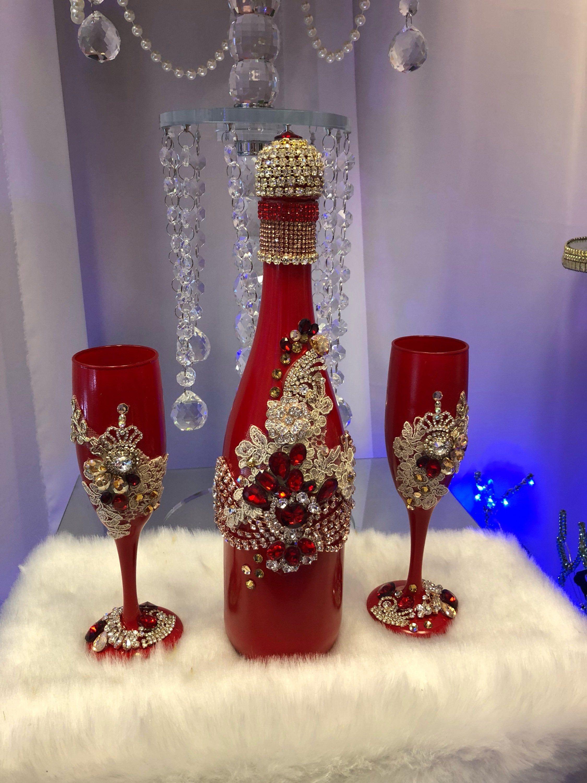 Burgundy Red Champagne Set Etsy Wedding Bottles Bride Wine Glass Wedding Wine Glasses