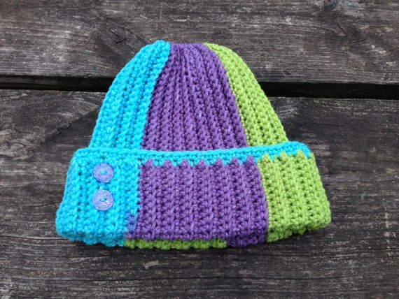 86f9ddca9 Blue Purple and Green Messy bun hat with Elastic rubber band / ready ...