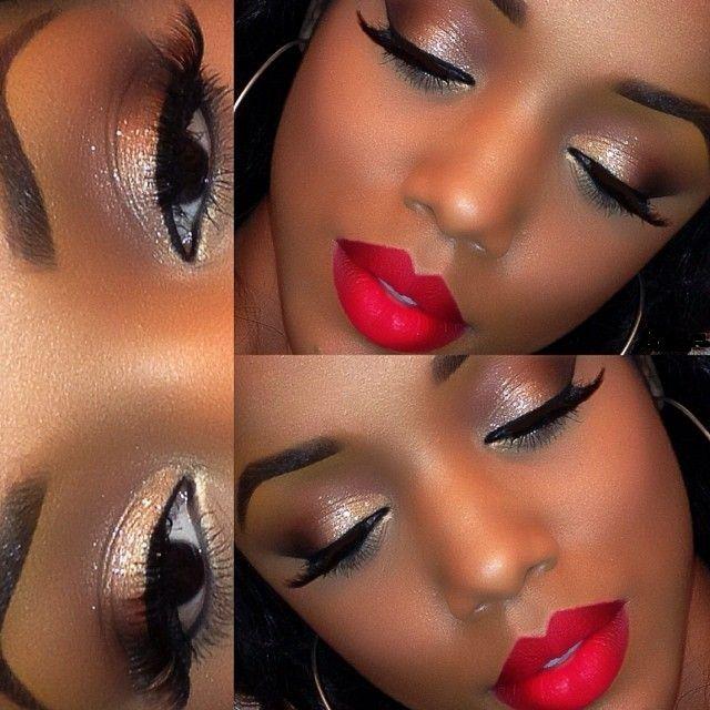 Bronze Smokey Eye And Red Lips Makeup Idea Dark Skin Makeup