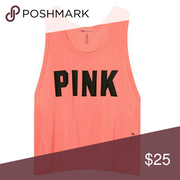 Brand new Victoria Secret Pink Cropped Top VS Super cute Victoria Secret Pink super soft crop top tank. Neon nectar color. Comes in unopened online packaging without retail tags and will ship same or next day. Would look so cute paired with high waisted shorts.  Retails $32.95 plus tax in stores. PINK Victoria's Secret Tops Crop Tops