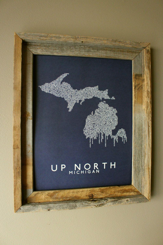Up North Michigan Word Map Fine Art Print Blue Unframed Etsy Michigan Decor Michigan Traverse City Michigan