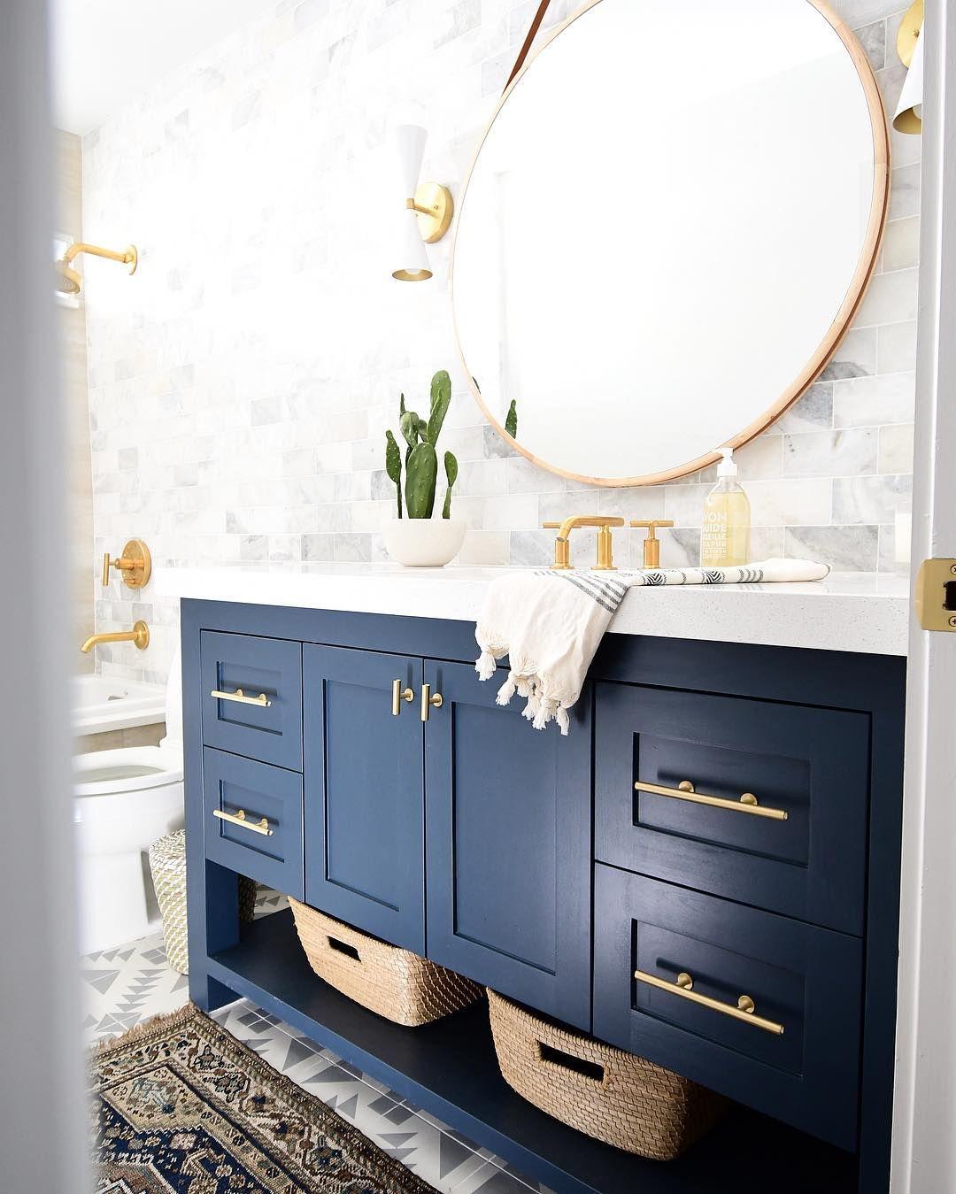Blue And Gold Bathroom Bathroom Interior Design Beautiful Bathroom Decor Bathroom Inspiration