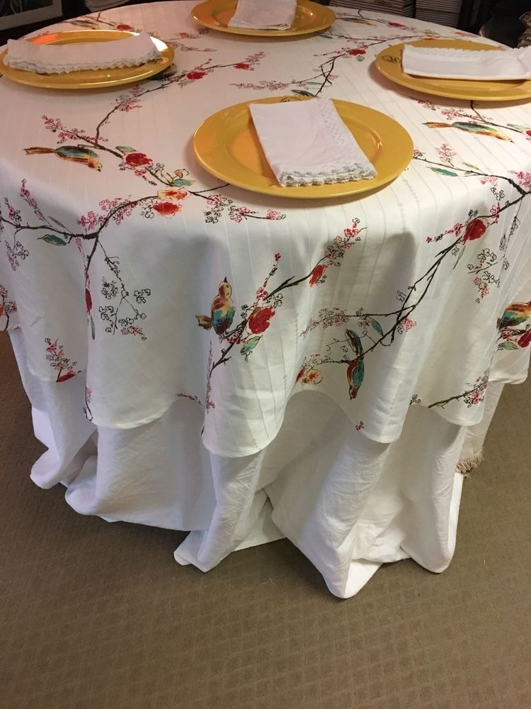 Lenox Chirp White Red Yellow Aqua W Birds Spill Proof Tablecloth