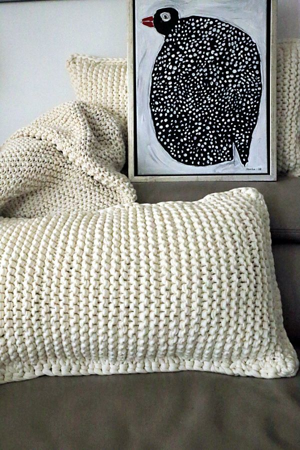 knitted planket and cushion cover and acryl painting of pearl hen