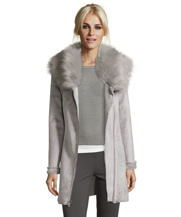39347685104a Catherine Catherine Malandrino Dove Grey Luxurious Faux Shearling Fit    Flare Asymmetrical Zip Coat With Oversized Faux Fur Collar