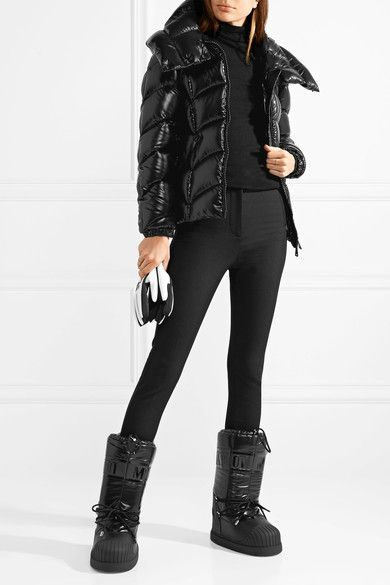 ba2fad60482 MONCLER + Moon Boot sleek Venus shell and textured-leather snow ...