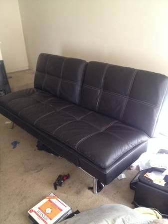 Black Leather Futon Sofa Metal Frame And Legs 200 East Memphis