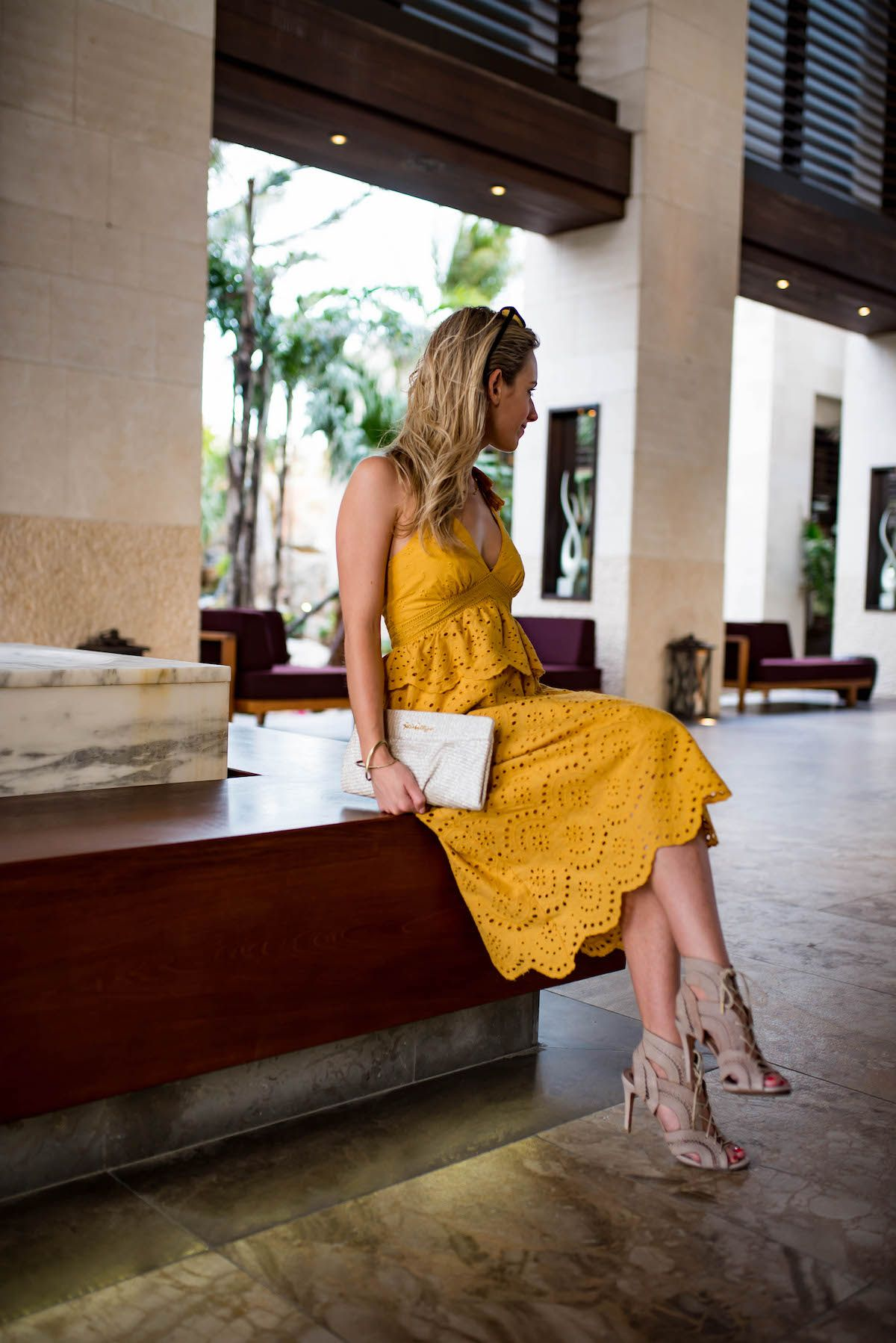 Love this yellow eyelet cocktail dress katiesbliss