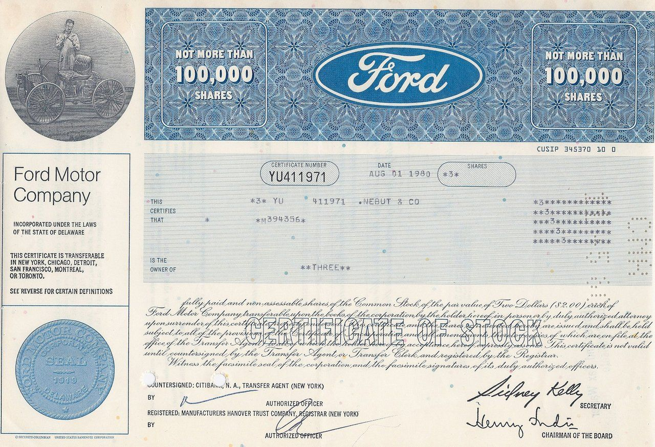 Ford Motor Company Stock Certificate 1980 Ford Motor Company