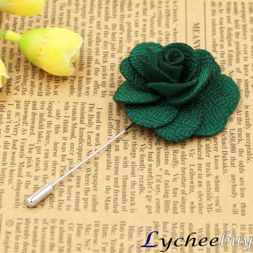 fashion handmade flower flower lapel pin brooch deep green rose color men wedding suit groomsman&bridegroom brooches
