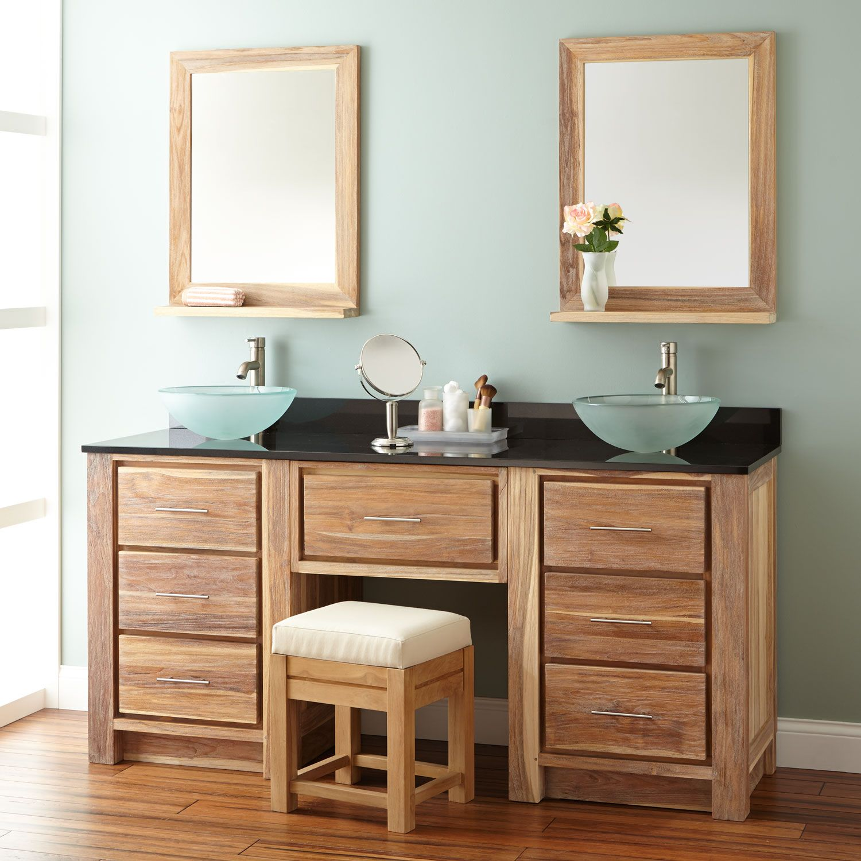 """72"""" Venica Teak Double Vessel Sink Vanity with Makeup Area"""