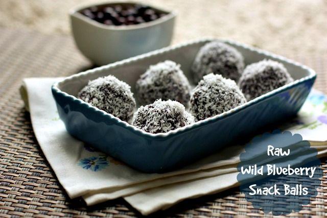 Easy, no bake recipe for raw wild blueberry snack balls using frozen wild blueberries.