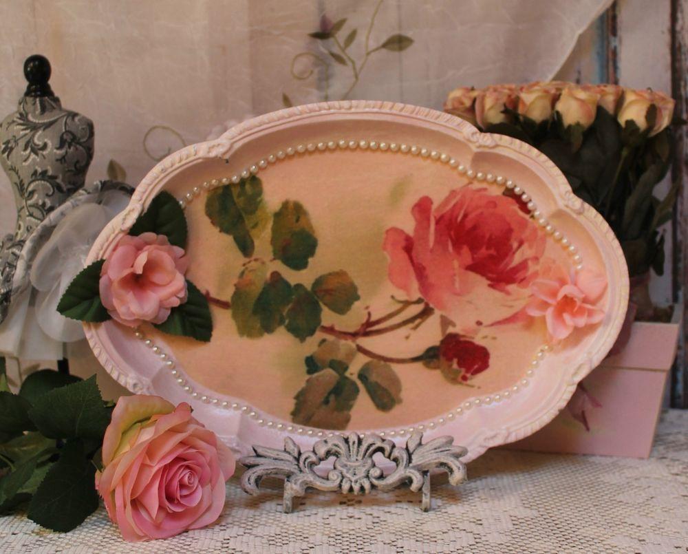 Handmade Tray Decoration Custom French ~ Country ~ Shabby Chic ~ Decorative ~ Vanity Metal Tray Inspiration Design