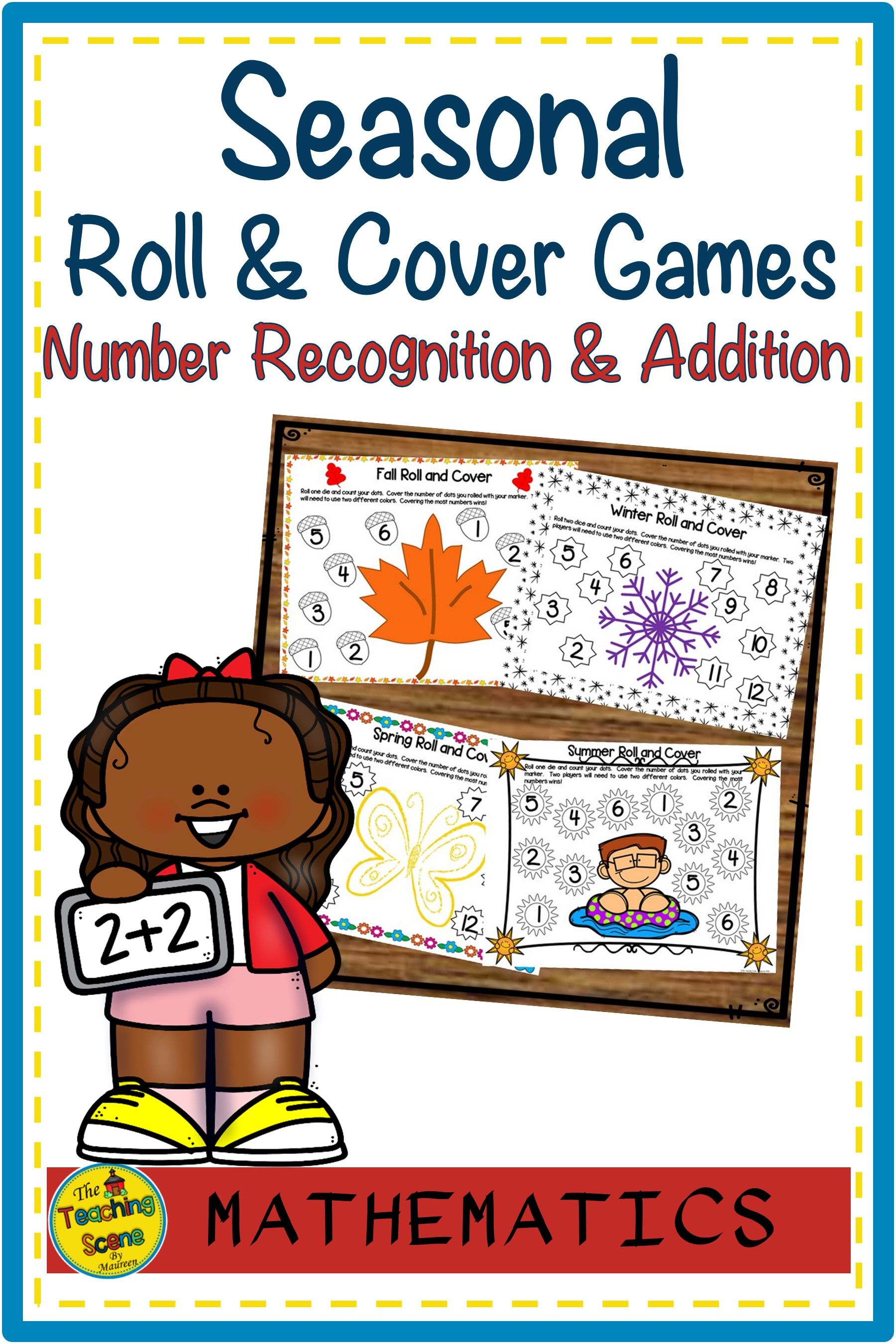 Seasonal Roll & Cover Number Recognition & Addition Math