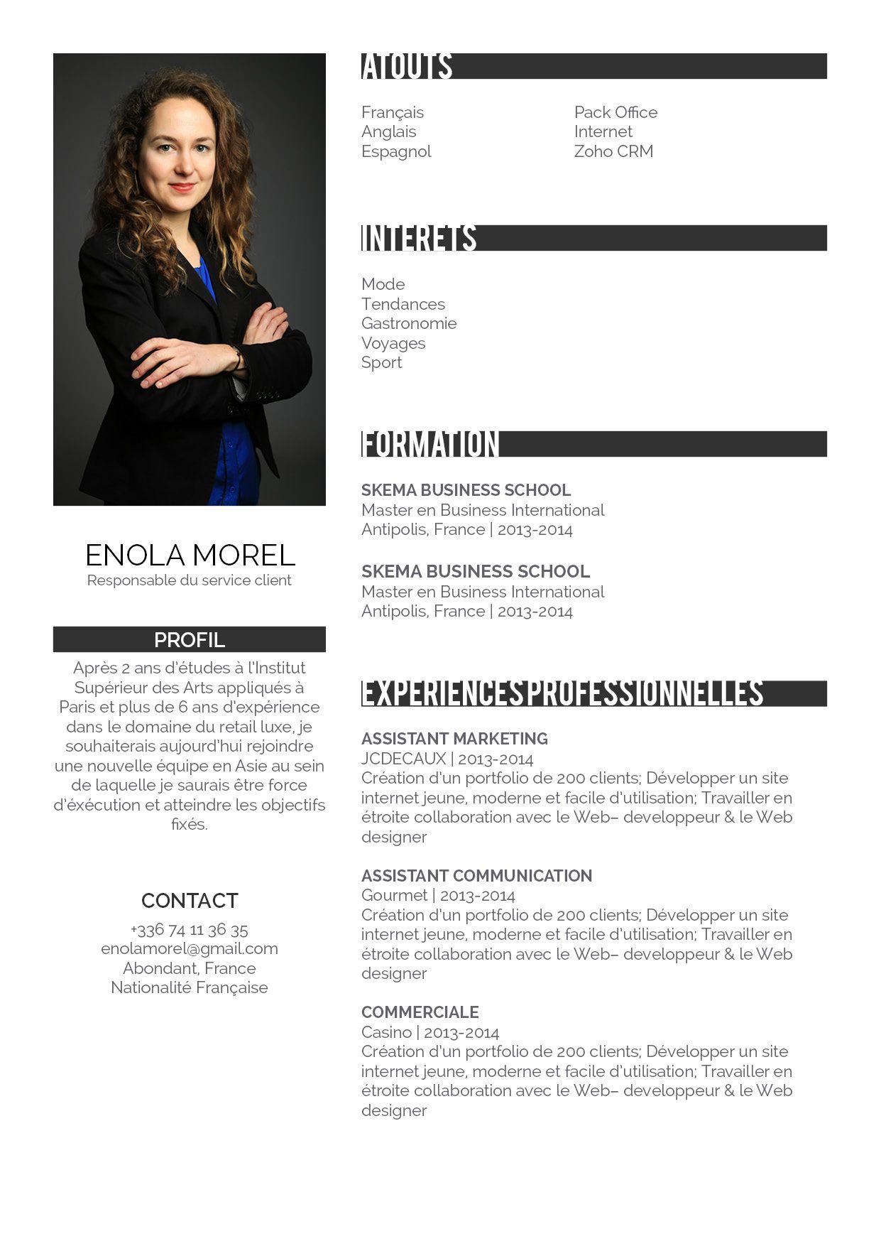 Attentif Un CV très professionnel, dans les standards