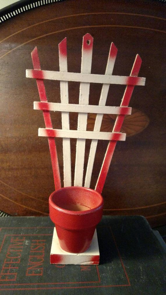 Interesting Vintage Wall Plaque Mini Trellis Planter 1950s Kitschy