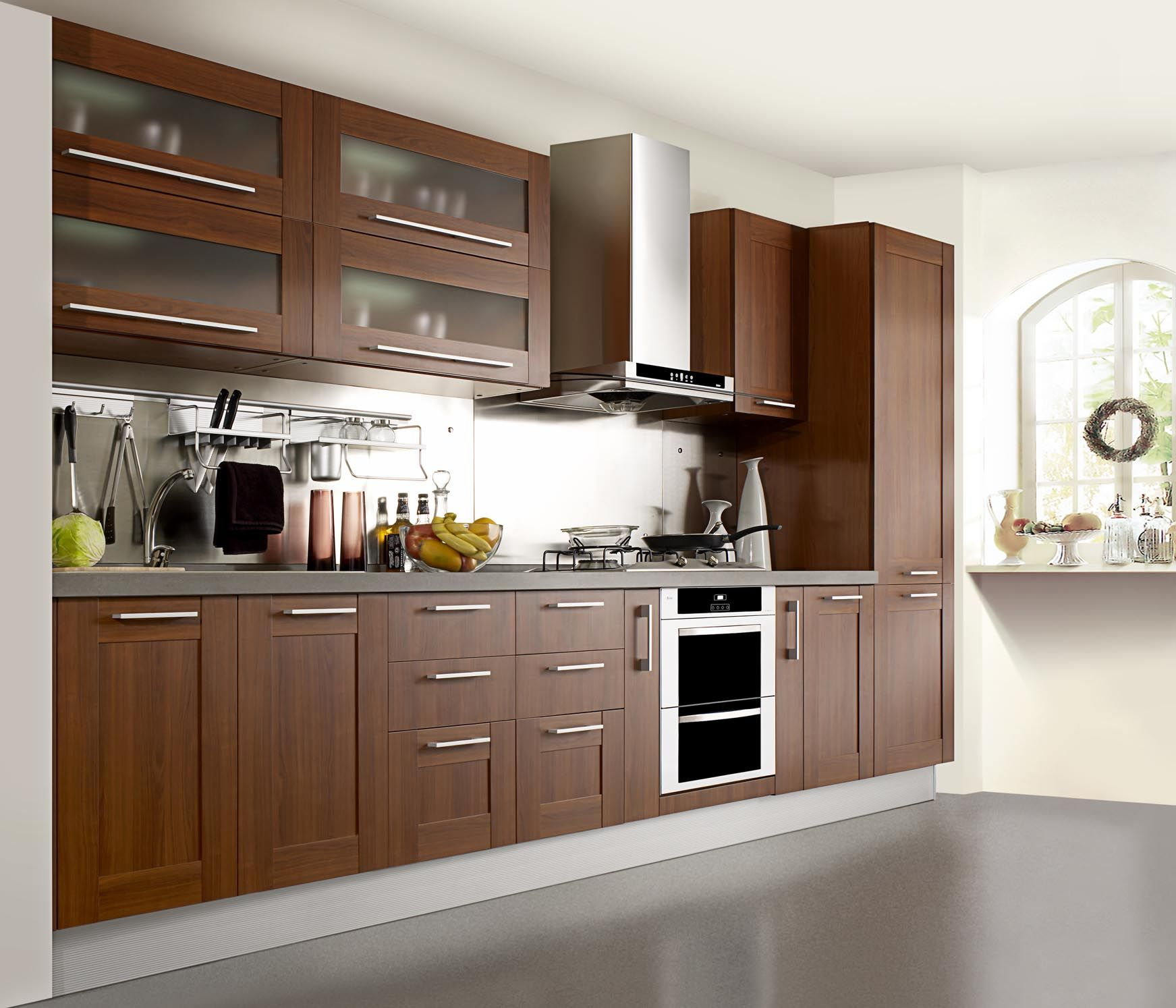 Hot Item Natural Oak Wood Veneer Kitchen Furniture Diseno Muebles De Cocina Muebles Cocina Melamina Cocinas De Casa