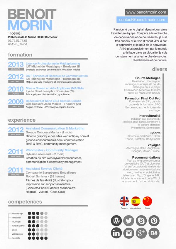 Curriculum Vitae Poster By Benoit Morin Via Behance Invitaciones
