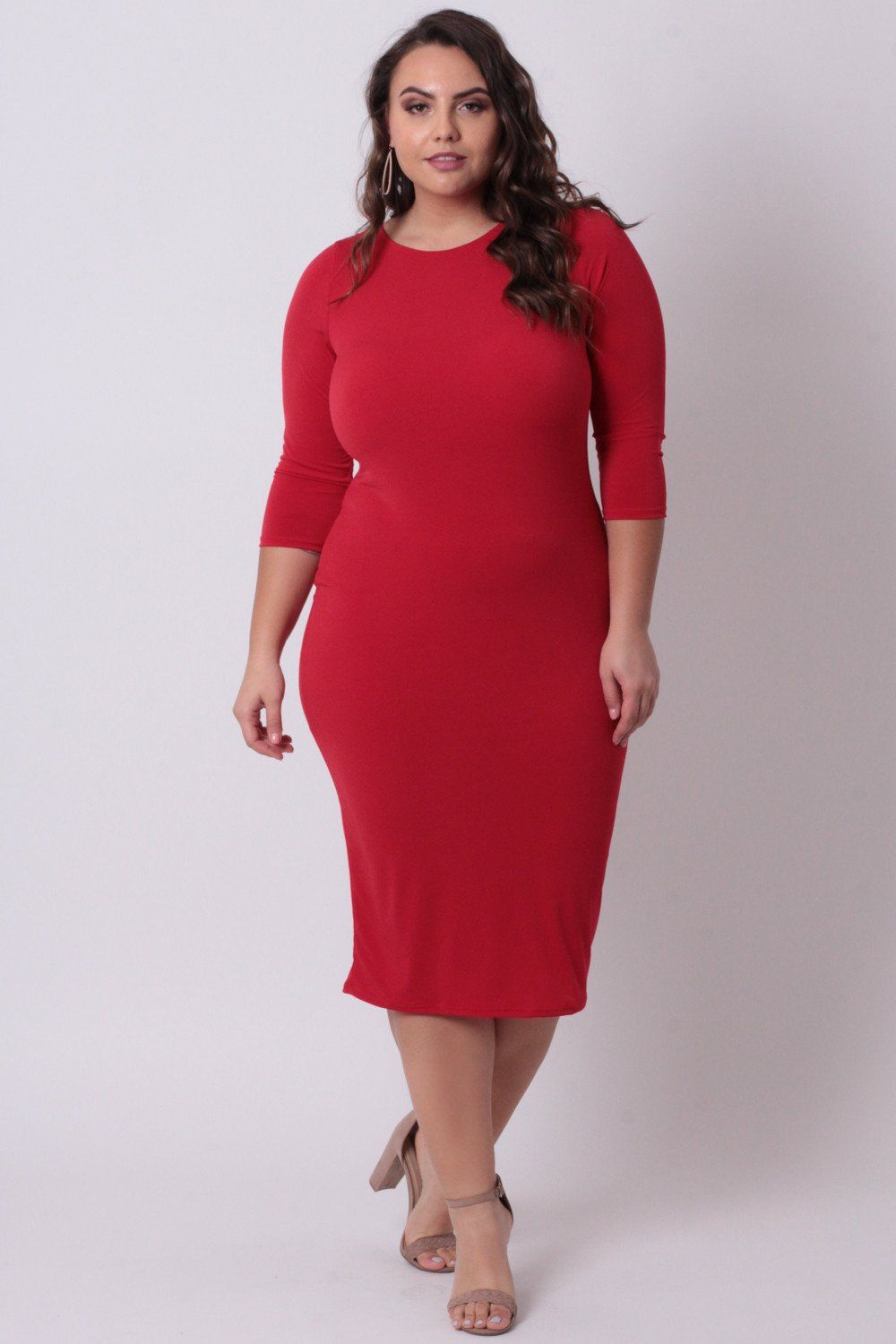Plus Size Draped Open Back Dress - Red | Anna Krylova (CurvySense ...