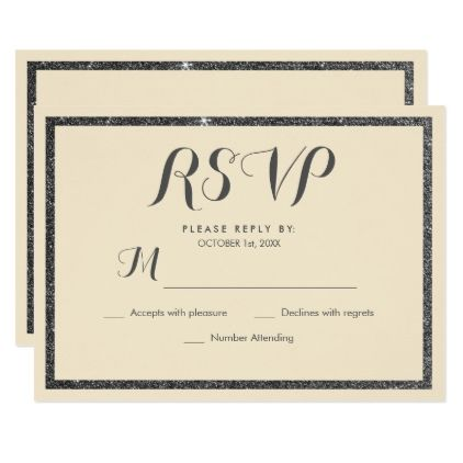 modern ivory elegant black faux glitter rsvp card faux gifts style sample design cyo - Sample Rsvp Cards
