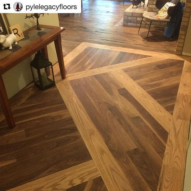 Red Oak And Walnut Patterned Wood Floor Finished With Woca Master