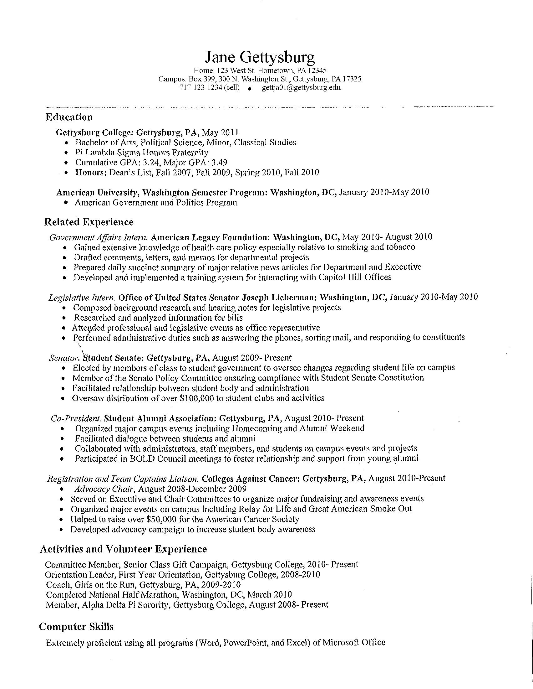resume for student positions