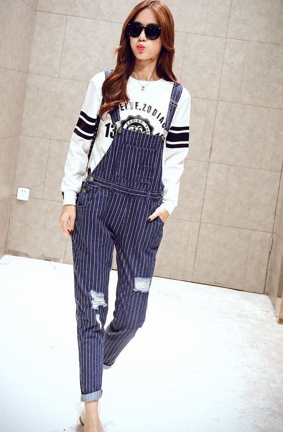 a305002f441 Korean Style Stripe Strap Denim Pant  Rompers   Jumpsuit Pants Women s  clothing Wholesale Clothing online from China