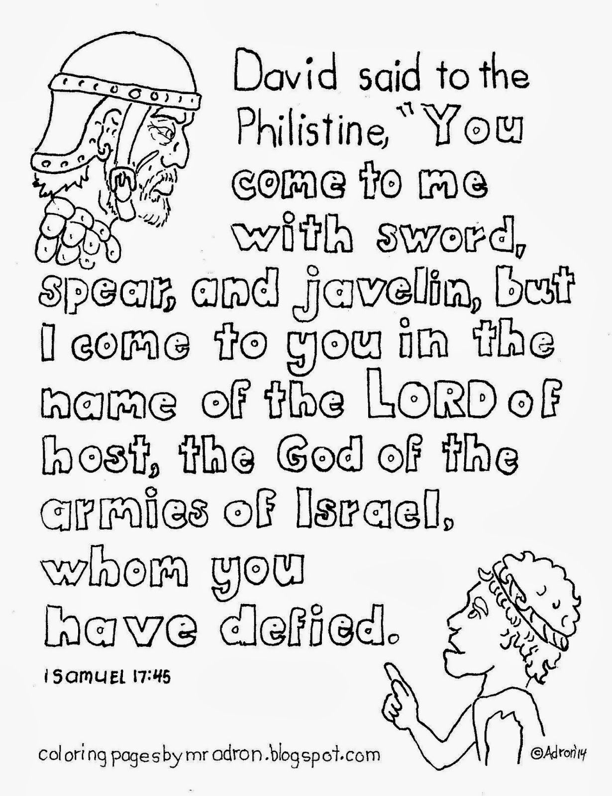 David And Goliath Coloring Page With Key Teaching Verse 1 Samuel