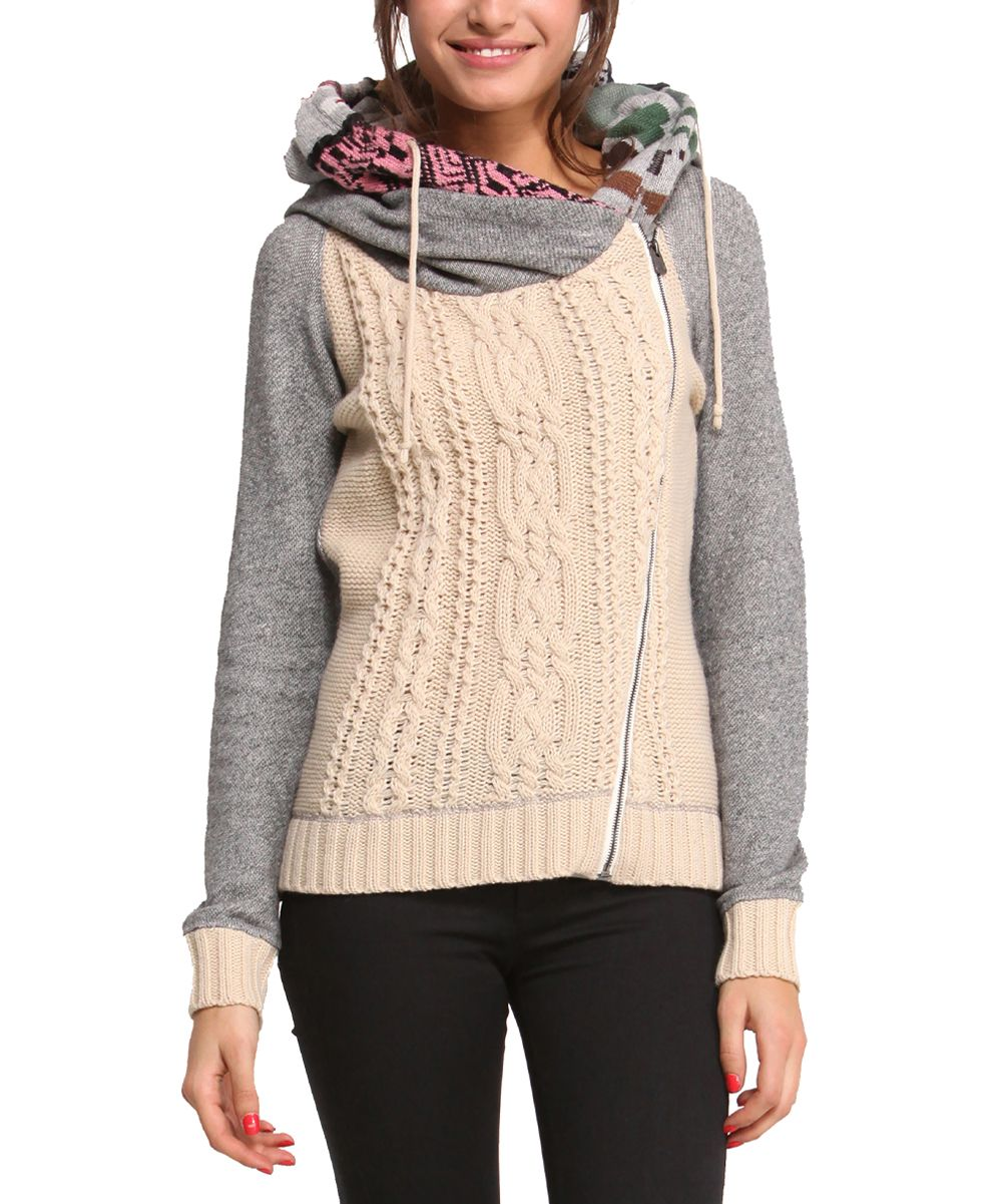 Desigual Gray & Ivory Cable-Knit Hoodie - Women | Cable knitting ...