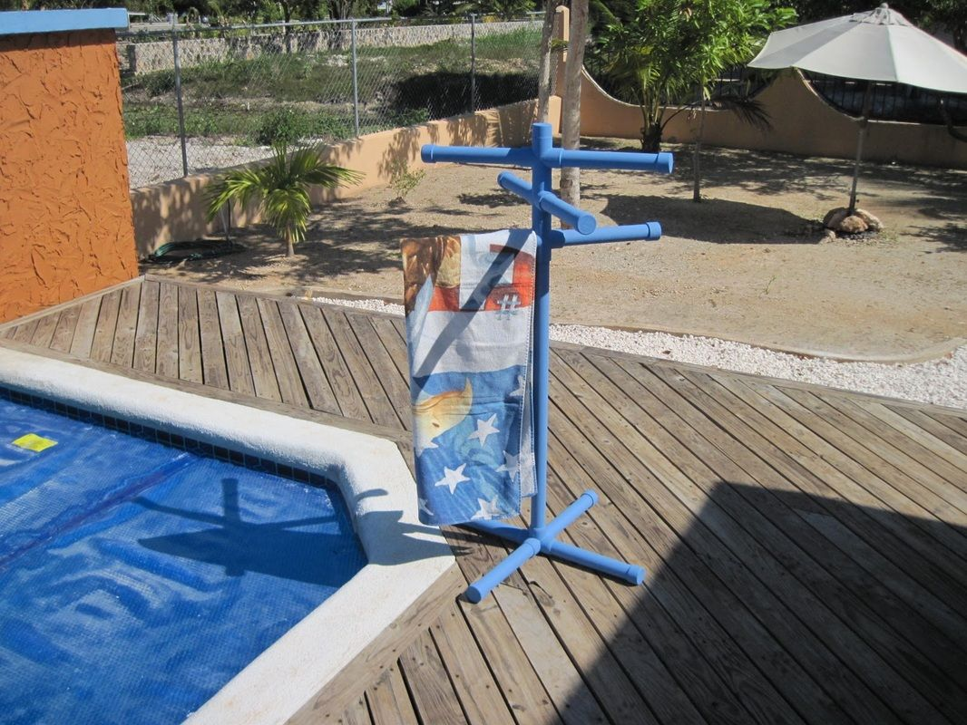 Diy Towel Rack Made Using Pvc Pipe From Organized Pool Toys Supplies Organizing