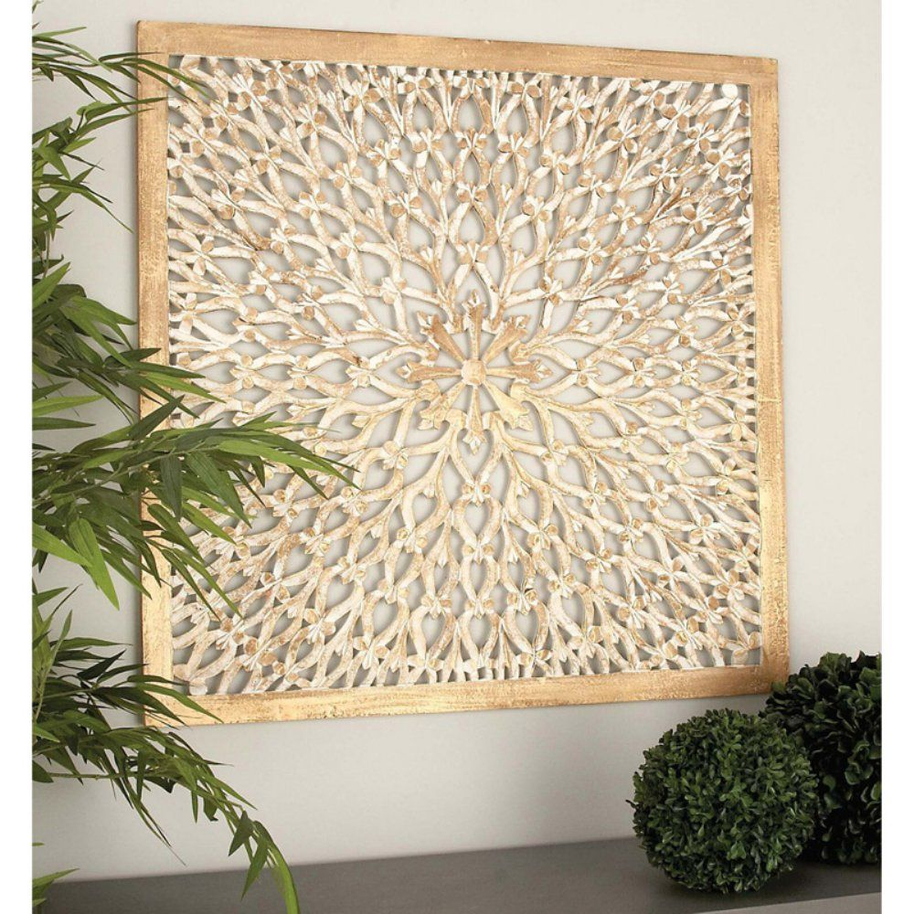 decmode square wood light brown wall panel with circular