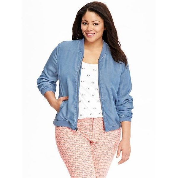 0f83041c51e Old Navy Womens Plus Chambray Bomber Jackets ( 33) ❤ liked on Polyvore  featuring outerwear