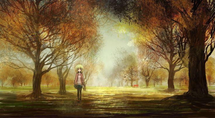 Original Art Girl Landscapes Anime Trees Park Autumn Fall Wallpaper Background Anime Scenery Wallpaper Anime Scenery Anime Backgrounds Wallpapers