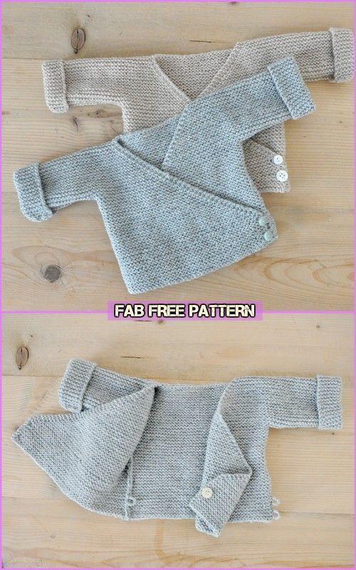 Patrones sin costuras de rebeca de kimono para bebés de punto simple