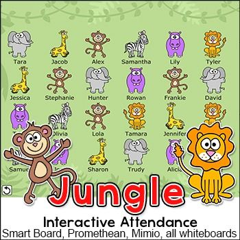 Jungle Theme Attendance for All Interactive Whiteboards and - attendance sheet for students