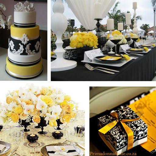 Amarillo y negro boda