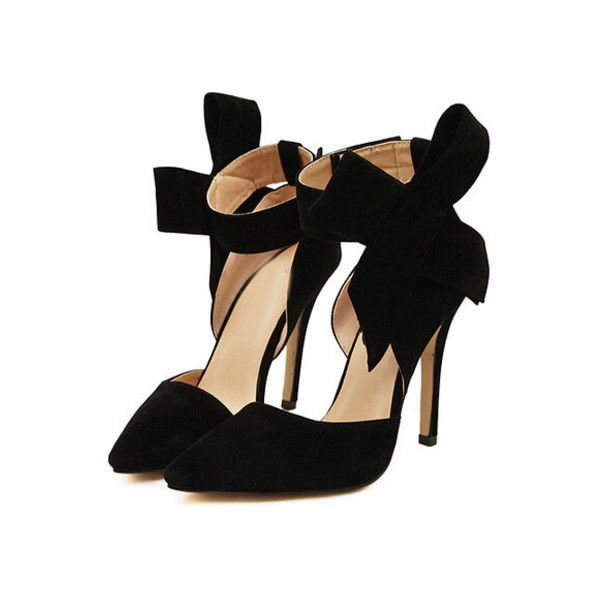 774c252f853 SheIn(sheinside) Black With Bow Slingbacks High Heeled Pumps ( 32) ❤ liked  on Polyvore featuring shoes