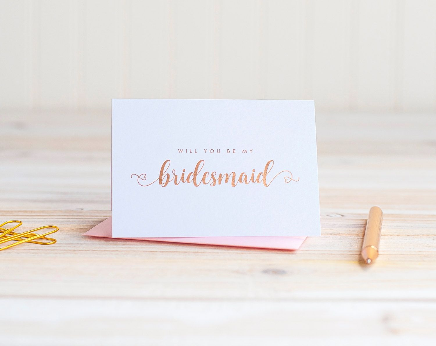 Will You Be My Bridesmaid Card Rose Gold Foil Ask Proposal Gift Box Wedding Party