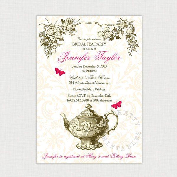 Garden Tea party DIY printable Bridal Shower Invitation