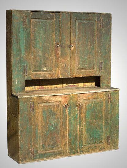 Cupboard In Old Green Paint Antique Bedroom Furniture Primitive Furniture Antiques