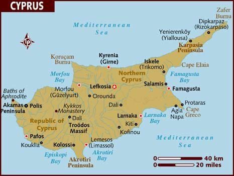 A Map of Cyprus Cyprus Pinterest Cyprus