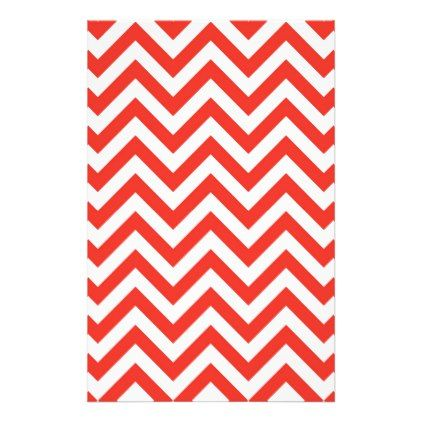 Scarlet Red Chevron Pattern Stationery Home Decor Design Art Diy Cyo Custom