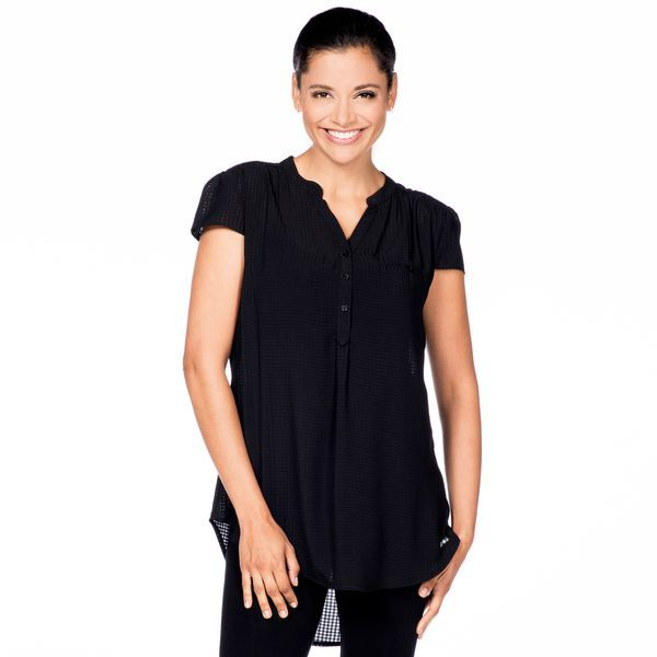 High-Low Capped Sleeve Top in Black