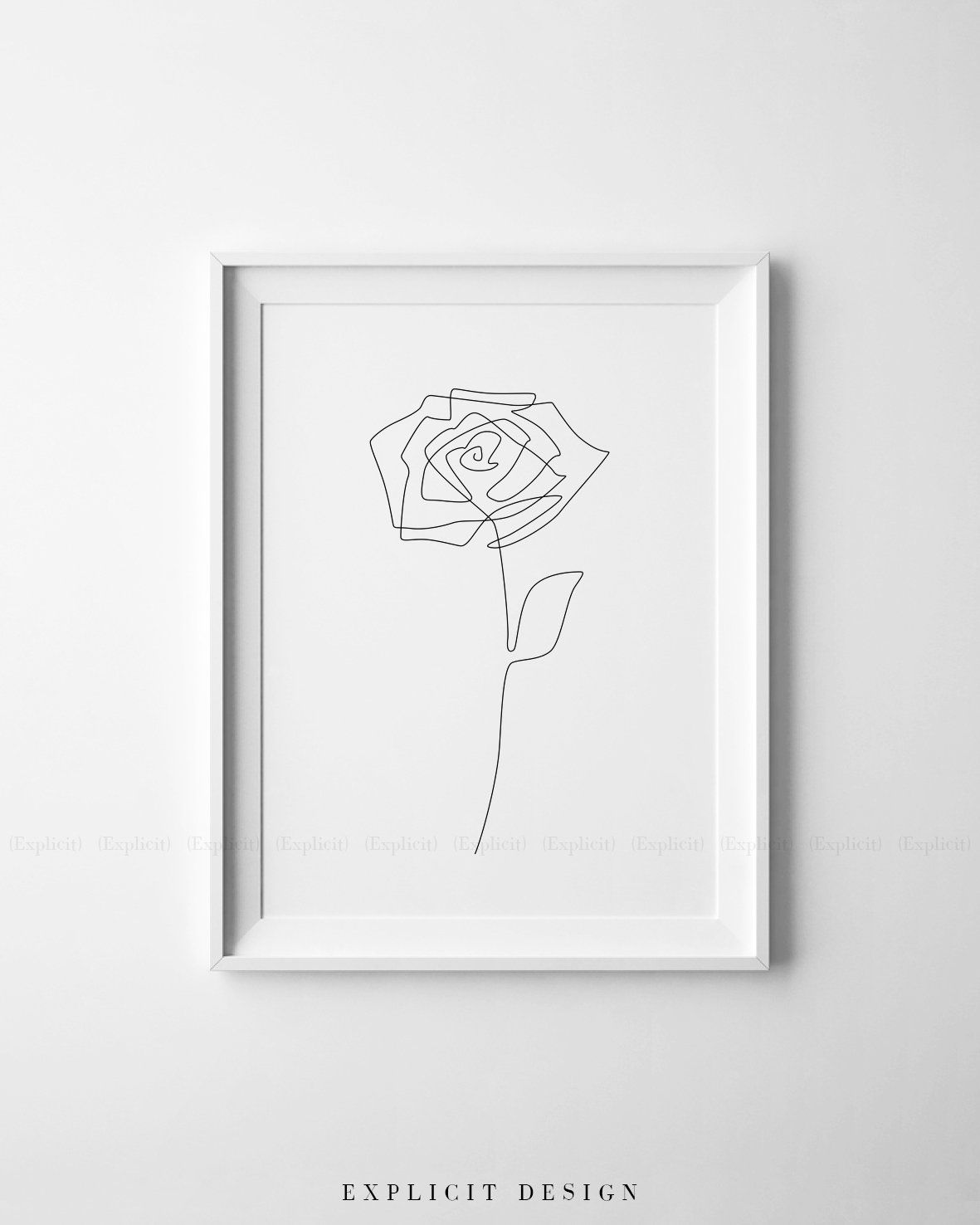 a9b30d56b08b0 Printable Rose Drawing, Abstract Minimalist Art, Thin One Line Roses ...