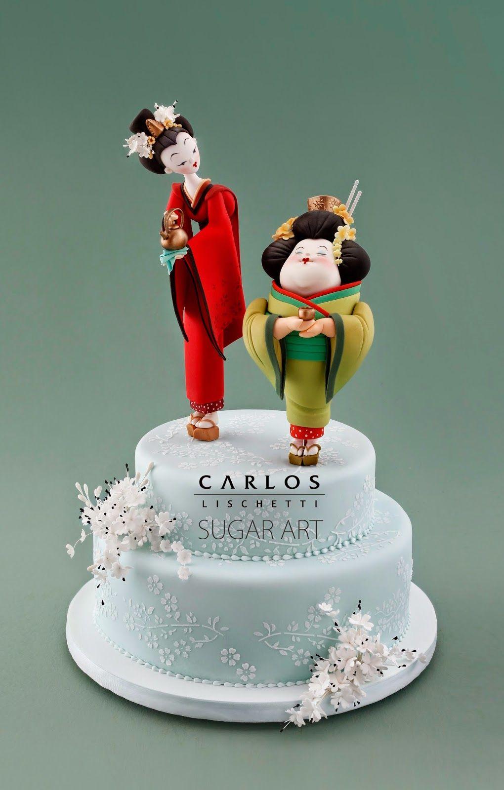 Thin & Chubby Geisha's Cake Topper   by Carlos Lischetti Sugar Art