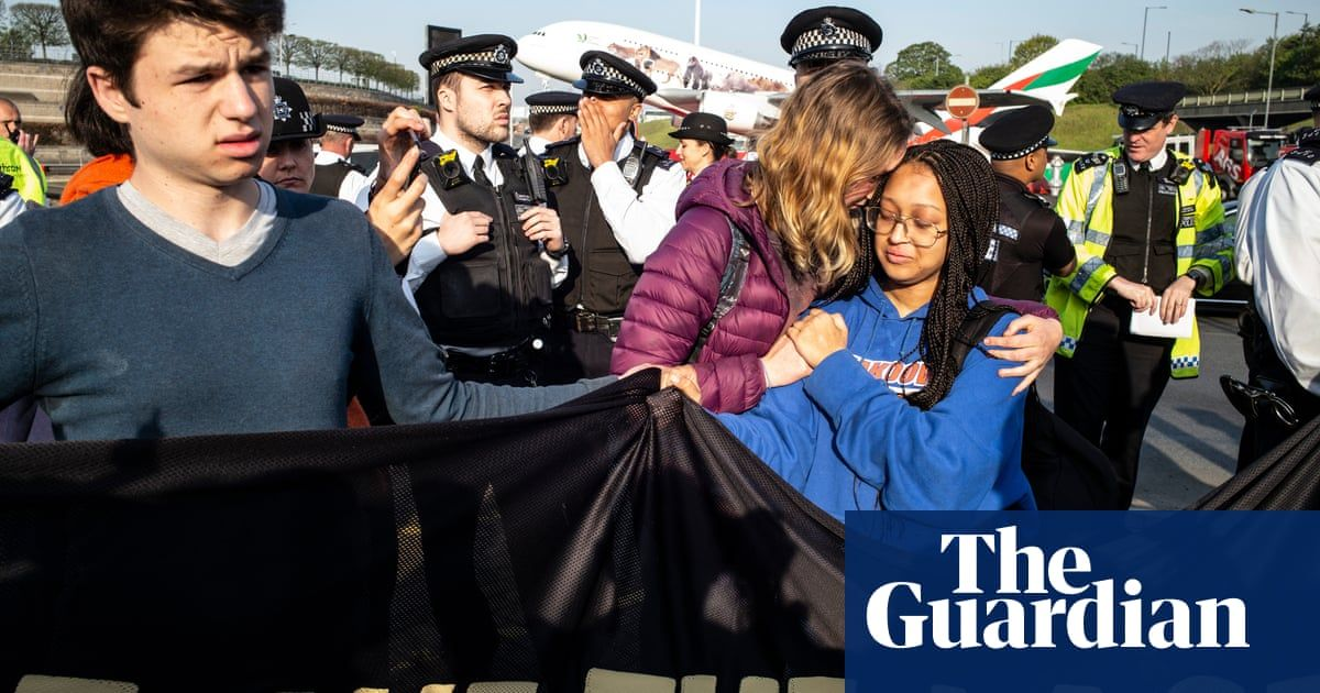 Extinction Rebellion stages youth protest at Heathrow