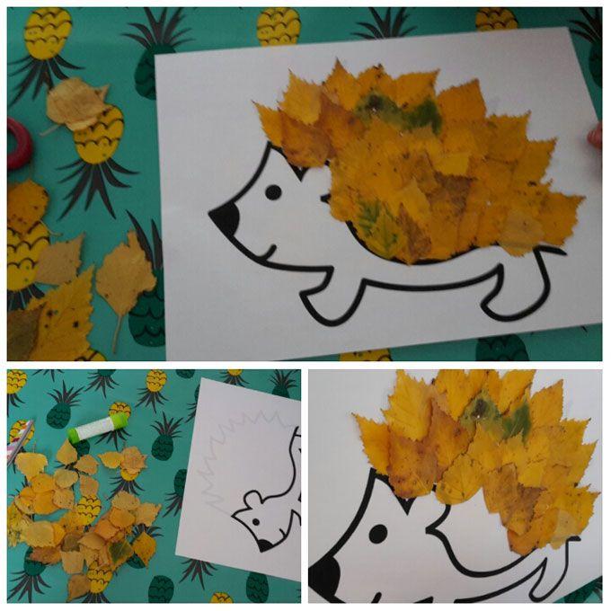 hérisson d'automne, à partir de 2 ans (mais mettent feuilles dans n'importe quel ordre) #bricolageenfantsautomne