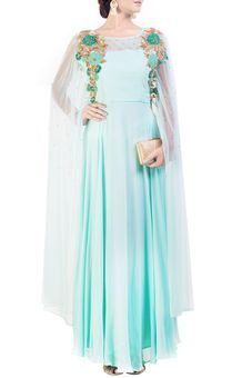 a09c4a24c8a Sea Green Dress With Stylish Sleeves by Anju Agarwal